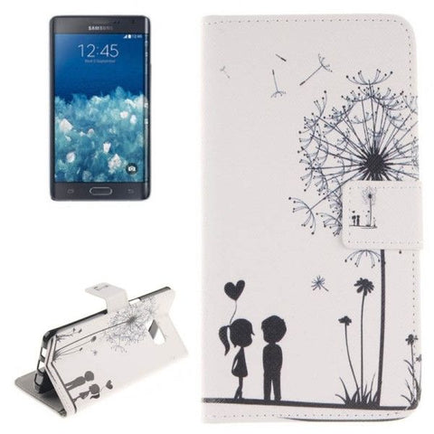 Couple and Dandelion Pattern Horizontal Flip Leather Case with Holder & Card Slots & Wallet for Samsung Galaxy Note 5 Edge, Small Quantity Recommended Before Samsung Galaxy Note 5 Edge Launching
