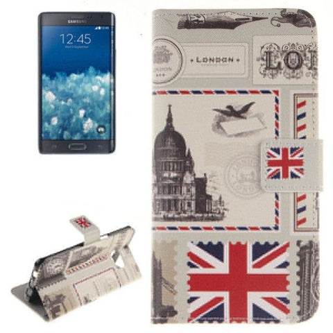The Envelope of London Pattern Horizontal Flip Leather Case with Holder & Card Slots & Wallet for Samsung Galaxy Note 5 Edge, Small Quantity Recommended Before Samsung Galaxy Note 5 Edge Launching