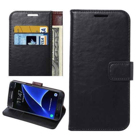 For Samsung Galaxy S7 / G930 Crazy Horse Texture Horizontal Flip Leather Case with Holder & Card Slots & Wallet (Black)