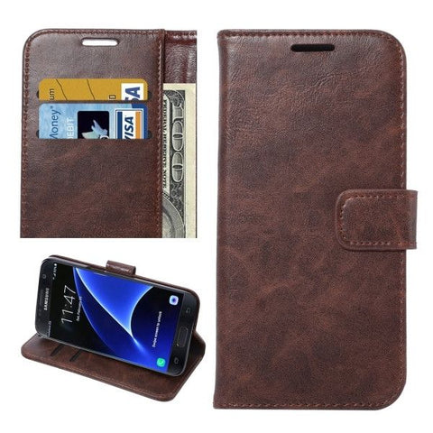 For Samsung Galaxy S7 / G930 Crazy Horse Texture Horizontal Flip Leather Case with Holder & Card Slots & Wallet (Coffee)