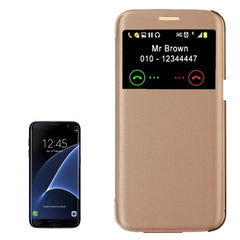 For Samsung Galaxy S7 Edge/ G935 Horizontal Flip Leather Case with Call Display ID (Gold)