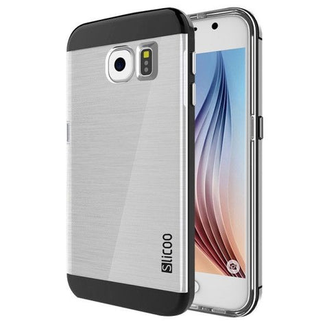 Slicoo for Samsung Galaxy S6 / G920 Brushed Texture Electroplating Transparenct Combination Case (Black)