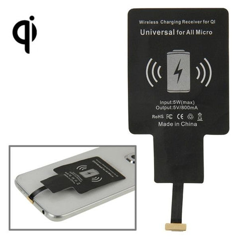 Wireless Charging Receiver for QI, Universal for All Micro(Black)