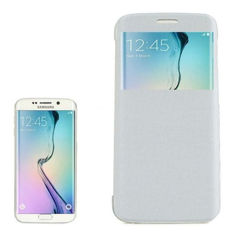 PC PU Cashmere Fiber Leather Case with Transparent Back Shell & Call Display ID for Samsung Galaxy S6 Edge / G9250(White)