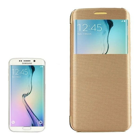 PC PU Cashmere Fiber Leather Case with Transparent Back Shell & Call Display ID for Samsung Galaxy S6 Edge / G9250(Gold)