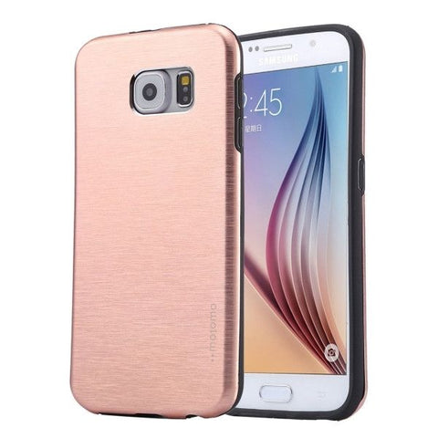 For Samsung Galaxy S6 / G920 MOTOMO Brushed Texture Metal + TPU Protective Case (Pink)