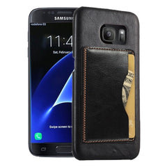 For Samsung Galaxy S7 Edge / G935 Leather Case Back Shell Cover with Holder & Card Slot (Black)