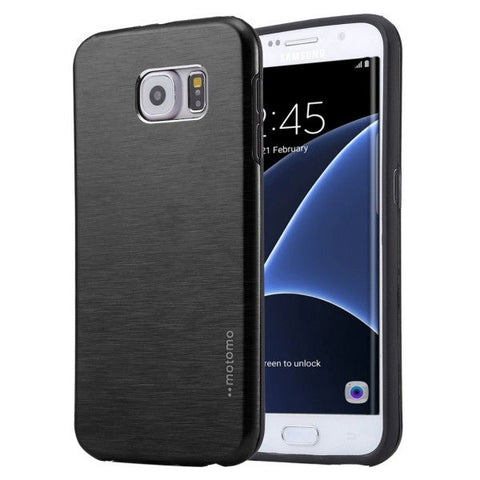 For Samsung Galaxy S7 Edge / G935 Motomo Brushed Texture Metal + TPU Protective Case (Black)