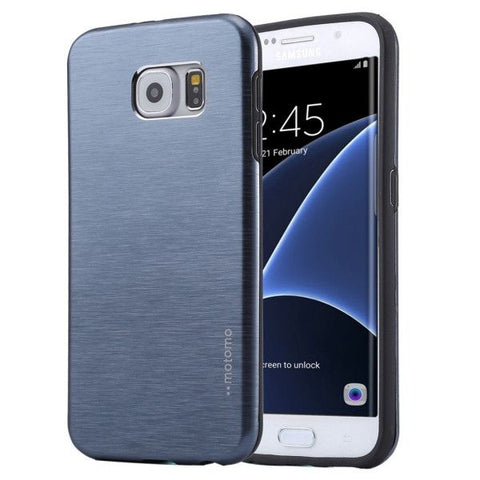 For Samsung Galaxy S7 Edge / G935 Motomo Brushed Texture Metal + TPU Protective Case (Dark Blue)