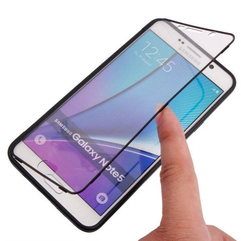 Horizontal Flip Transparent Touch Screen PC Front Cover + TPU Back Cover Protective Case for Samsung Galalxy Note 5 / N920(Black)