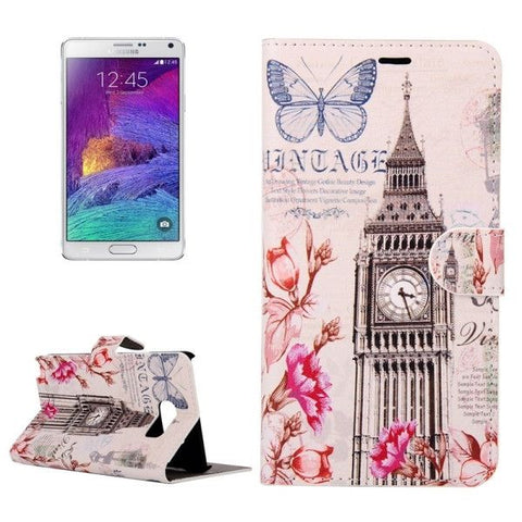 Butterfly & Big Ben Pattern Horizontal Leather Case with Holder & Card Slots & Wallet for Samsung Galaxy Note 5