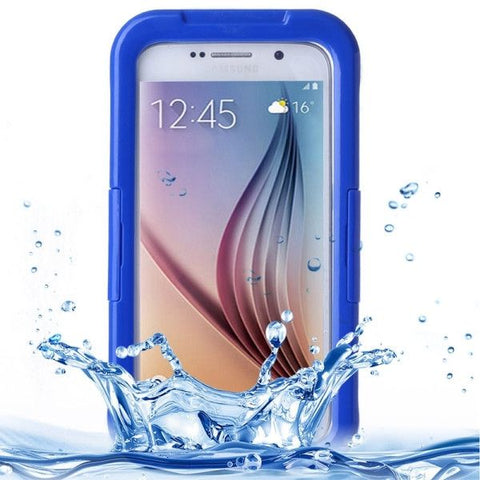 For Samsung Galaxy S6 IPX8 Waterproof PVC Case with Touch Responsive Front (Dark Blue)