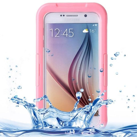 For Samsung Galaxy S6 IPX8 Waterproof PVC Case with Touch Responsive Front (Pink)