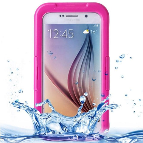 For Samsung Galaxy S6 IPX8 Waterproof PVC Case with Touch Responsive Front (Magenta)