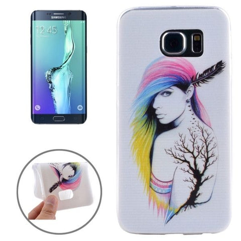 Ultrathin Fashion Lady Pattern TPU Protective Case for Samsung Galaxy S6 Edge+ / G928