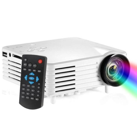BarcoMax GP7S 1080P 120 Lumens Portable Mini LED Projector for Home Theater, Support HDMI(White)