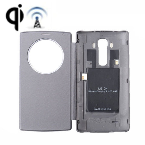 Wireless Charger Receiver & Leather Back Cover Replacement Case with Call Display & NFC Function for LG G4 / H815(Grey)