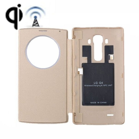 Wireless Charger Receiver & Leather Back Cover Replacement Case with Call Display & NFC Function for LG G4 / H815(Gold)