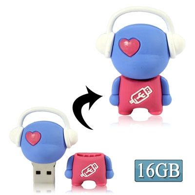 Music man cartoon USB Flash disk, Special for Valentines Day Gifts (16GB)