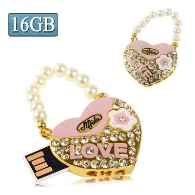 Heart Shaped Diamond Jewelry USB Flash Disk with Pearl Chain, Special for Valentines Day Gifts (16GB)