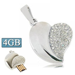 Silver Heart Shaped Diamond Jewelry USB Flash Disk, Special for Valentines Day Gifts (4GB)