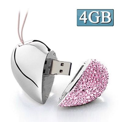 Heart Shaped Diamond Jewelry USB Flash Disk, Special for Valentines Day Gifts (4GB)