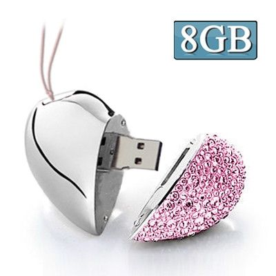 Heart Shaped Diamond Jewelry USB Flash Disk, Special for Valentines Day Gifts (8GB)