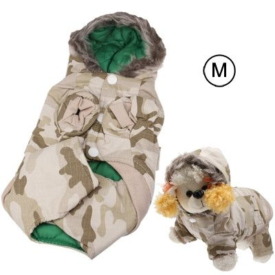 Winter Camouflage Style Coat for Dogs with Zipper ( Size: M)