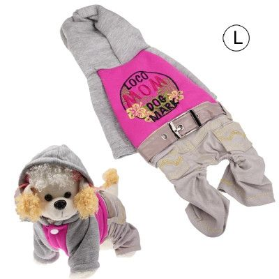 Spring & Autumn Western Denim Clothes for Dogs, Magenta (Size: L)
