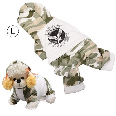 Spring and Autumn Camouflage Style Coat for Dogs, White ( Size: L)