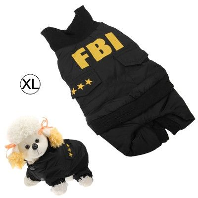 Cool FBI Style Warm Coat Dog Clothes (Size XL)
