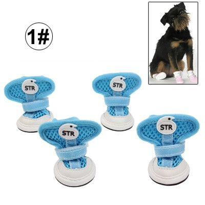 New Fashion Anti-Skidding STR Dog Shoes, Size: 1# (Blue)