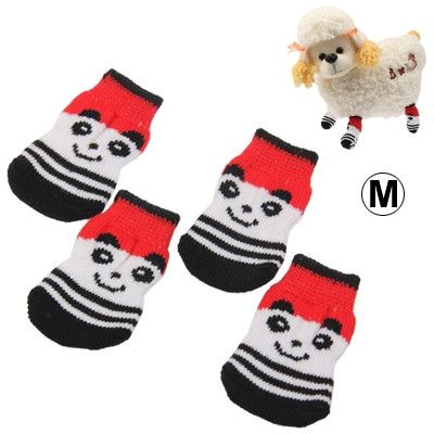 Cute Panda Pattern Cotton Non-slip Pet Socks,Size: M