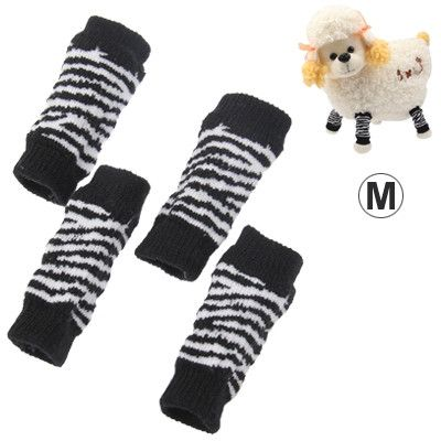 Black and White Stripe Style Pet Dog Cat Socks, Size: M