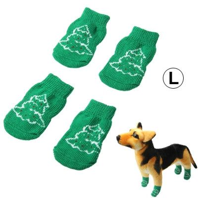 Cute Christmas Tree Pattern Cotton Non-slip Pet Christmas Socks,Size: L