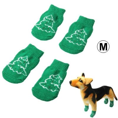 Cute Christmas Tree Pattern Cotton Non-slip Pet Christmas Socks,Size: M