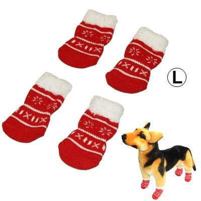 Cute Snowflake Pattern Cotton Non-slip Pet Christmas Socks,Size: L