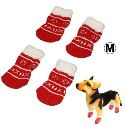 Cute Snowflake Pattern Cotton Non-slip Pet Christmas Socks,Size: M