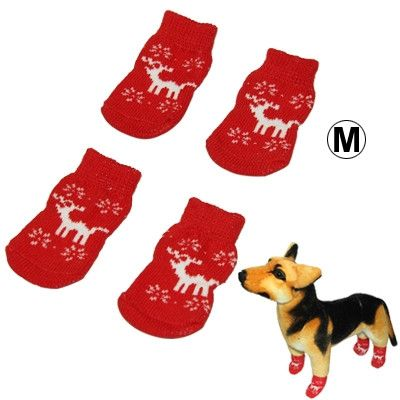 Cute Deer Pattern Cotton Non-slip Pet Christmas Socks,Size: M