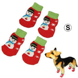 Cute Snowman Pattern Cotton Non-slip Pet Christmas Socks,Size: S - Zasttra.com