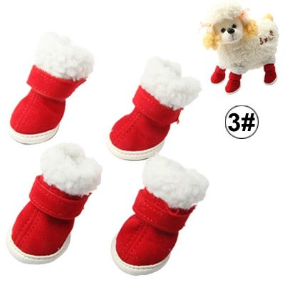 Warmly Christmas Plush Pet Shoes Dog Boots,Size:3