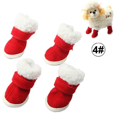 Warmly Christmas Plush Pet Shoes Dog Boots,Size:4