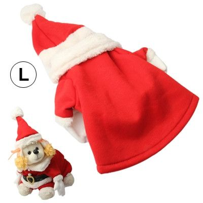 Pet Dogs Cute Outfit Costumes Clothes with Hat for Christmas (Size: L)