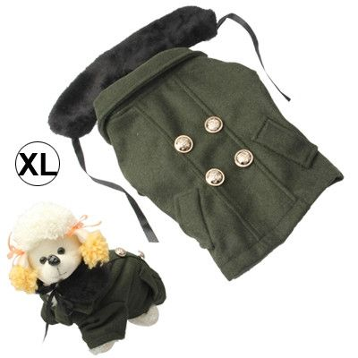 Gorgeous Woolen Cloth with Fur Collar Dog Coat Pet Clothes, Size: XL (Deep Green)