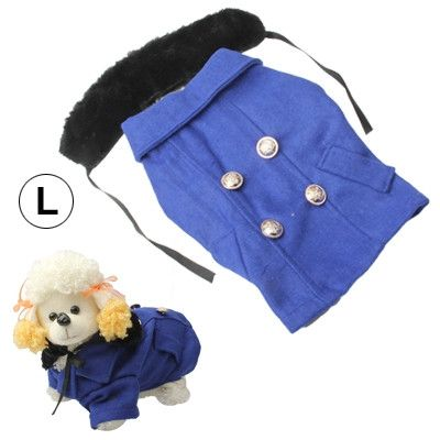 Gorgeous Woolen Cloth with Fur Collar Dog Coat Pet Clothes, Size: L (Dark Blue)
