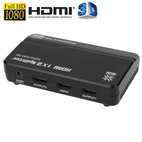 HUIYISHUN HDMI-200 1x2 HDMI Splitter for HDTV, Support 3D & Full HD 1080P(Black)