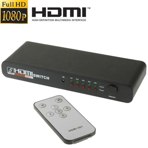 Full HD 1080P 5 Ports HDMI Switch with Remote Cotrol & LED Indicator