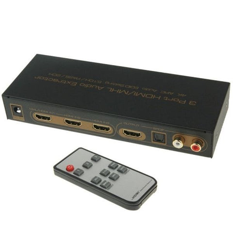 3 Ports HDMI/MHL Audio Extractor with IR Remote Control, 4K ARC Audio EDID Setting 5.1ch / PASS / 2ch