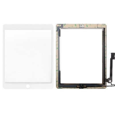 Controller Button + Home Key Button PCB Membrane Flex Cable + Touch Panel Installation Adhesive Replacement Touch Panel for iPad 4(White)