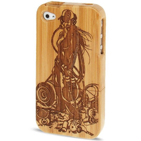 Woodcarving Music Maniac Pattern Detachable Bamboo Material Case for iPhone 4 & 4S
